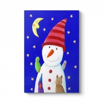Şapkalı Kardan Adam Tablosu