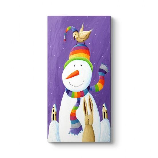 Renkli Şapkalı Kardan Adam Tablo
