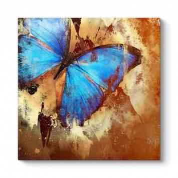 Kahverengi Mavi Kelebek Tablo