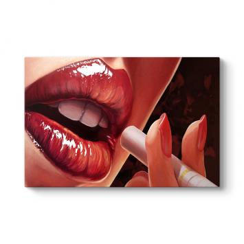 Kırmızı Dudak ve Sigara Tablo
