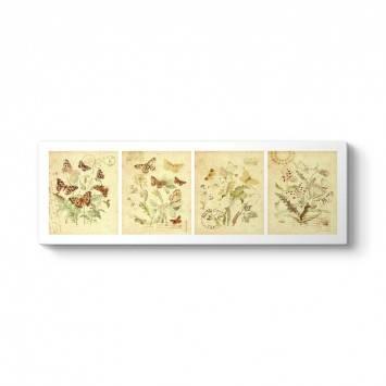 Dekoratif Kelebekler Retro Tablo