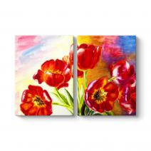 Yağlıboya Kırmızı Çiçekler Tablosu