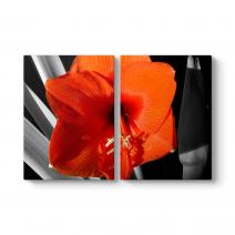 Kırmızı Soyut Çiçek Tablosu