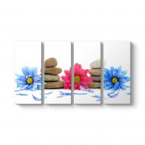 Çiçekler ve Yaprakları Panorama Tablo