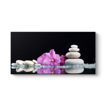 Mor Çiçek ve Çakıl Taşları Panorama Tablo