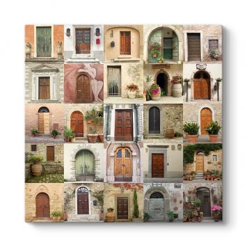 Eski Kapılar Kolaj Tablosu