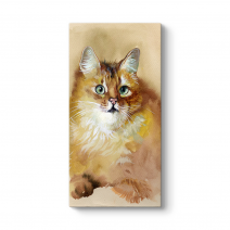 Sulu Boya Sarı Kedi Tablosu