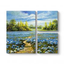 Mavi Çiçek Tarlası Tablosu