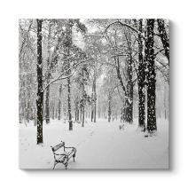 Kar Yağışı Manzara Tablosu