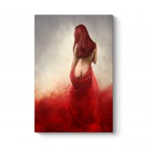 Kırmızı Soyut Nü Tablo