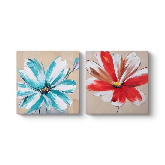 Modern Çiçek 2 Parçalı Tablo
