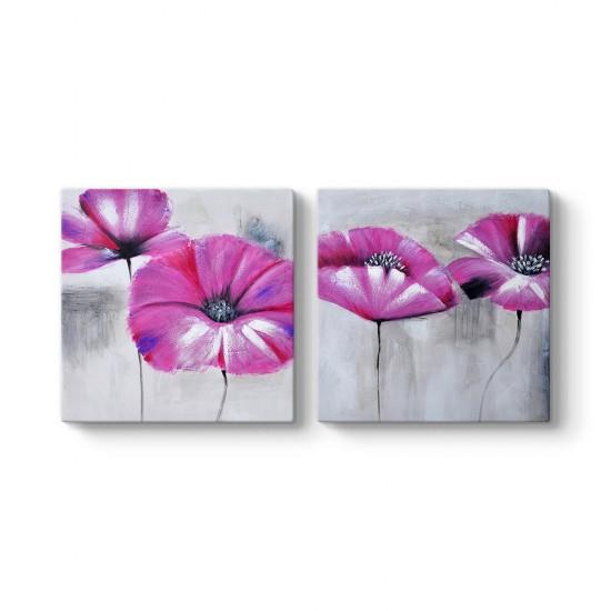 Dekoratif Çiçek 2 Parçalı Tablo