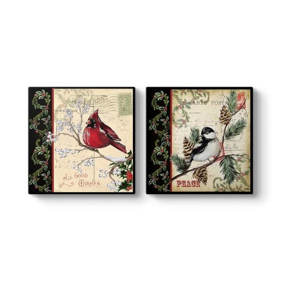 Kuşlar 2 Parçalı Tablo