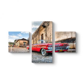Klasik Araba 3 Parçalı Tablo