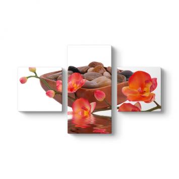 Orkide ve Taşlar 3 Parçalı Tablo