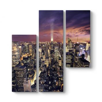 New York Asimetrik 3 Parçalı Tablo