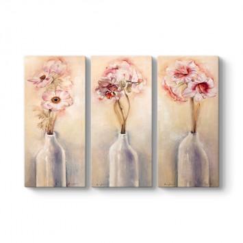 Vazodaki Çiçekler 3 Parçalı Tablo