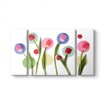 Modern Flowers 3 Parçalı Tablo