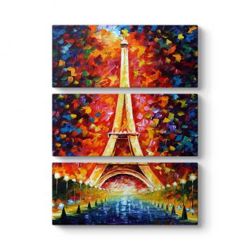 Eiffel Oil Painting 3 Parçalı Tablo