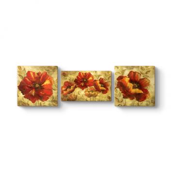 Deco Çiçekler 3 Parçalı Tablo