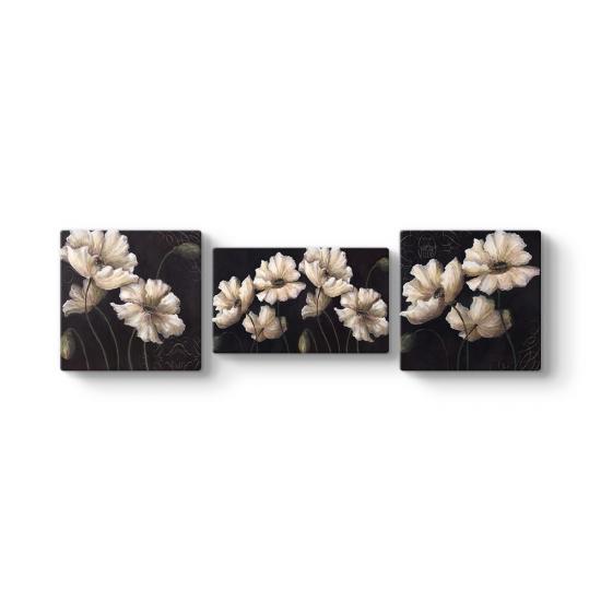 Beyaz Çiçekler 3 Parçalı Tablo