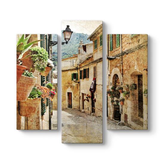 Eski Sokak 3 Parçalı Tablo