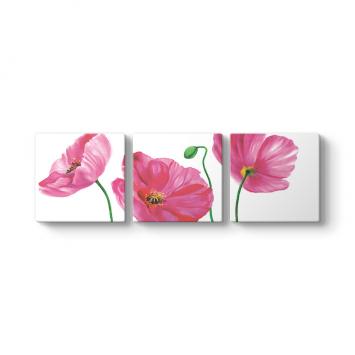 Pembe Çiçek 3 Parçalı Tablo