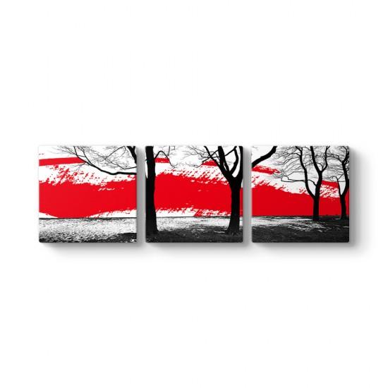 Silüet Ağaçlar 3 Parçalı Tablo