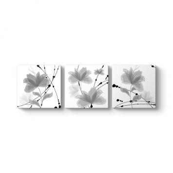 Dekoratif Çiçekler 3 Parçalı Tablo