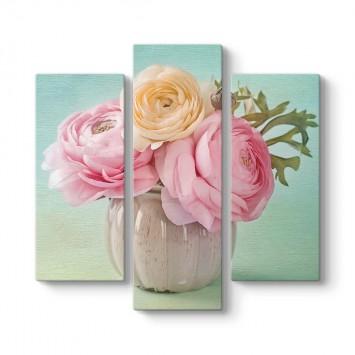Pastel Çiçekler 3 Parçalı Tablo
