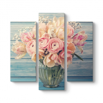 Soft Çiçekler 3 Parçalı Tablo