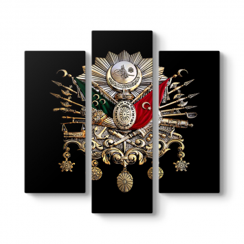Osmanlı Arması 3 Parçalı Tablo