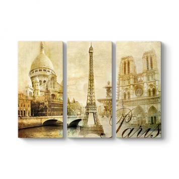 Paris Retro 3 Parçalı Tablo