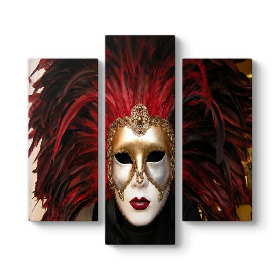 Altın Maske 3 Parçalı Tablo