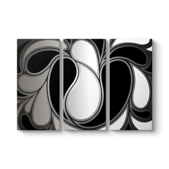 Black Design 3 Parçalı Tablo