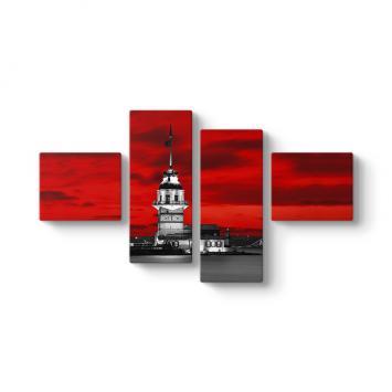 Kız Kulesi Kırmızı 4 Parçalı Tablo