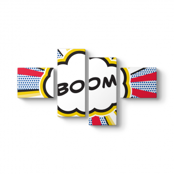 Boom Cartoon 4 Parçalı Tablo