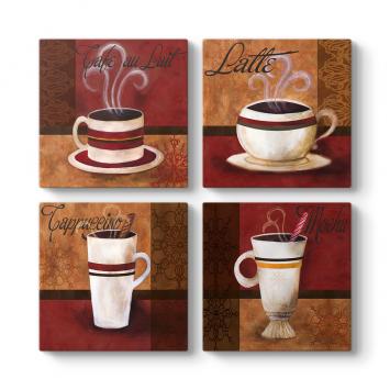 Kahveler 4 Parçalı Tablo