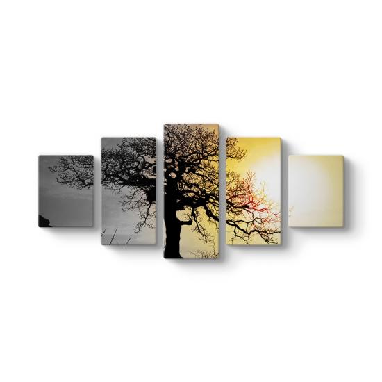 Ağaç Silüeti 5 Parçalı Tablo