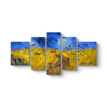 Van Gogh - Wheat Field 5 Parçalı Tablo