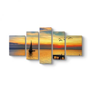Deniz Günbatımı Tekne 5 Parçalı Tablo