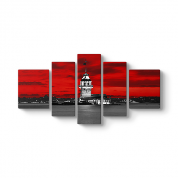 Kızkulesi Kırmızı 5 Parçalı Tablo