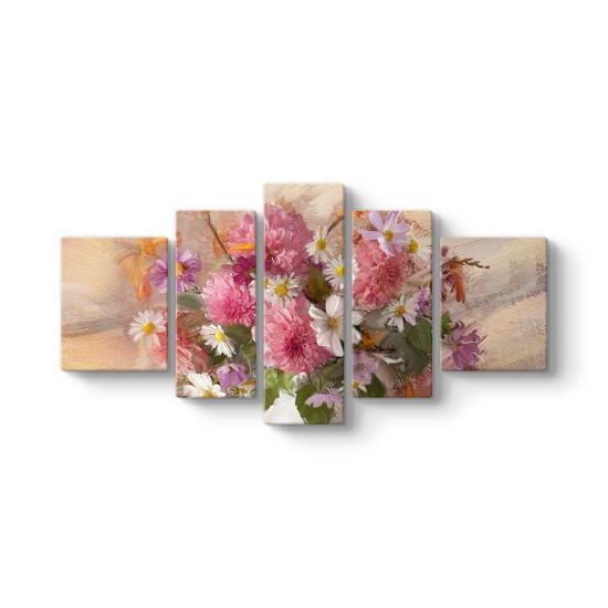 Çiçek Sepeti 5 Parçalı Tablo