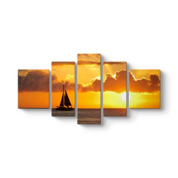 Deniz Günbatımı 5 Parçalı Tablo