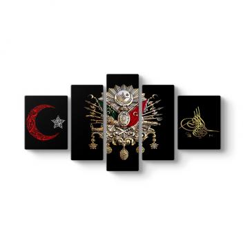 Osmanlı Tuğrası 5 Parçalı Tablo