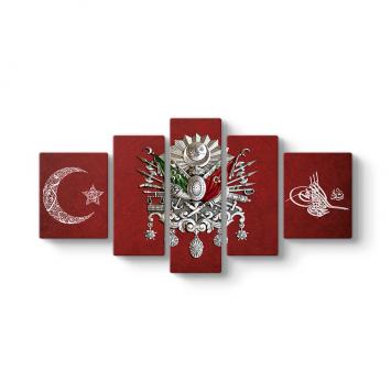 Osmanlı Tuğrası 5 Parça Tablo