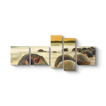 Deniz Kayaları 5 Parçalı Tablo