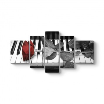 Piyano ve Gül 5 Parçalı Tablo