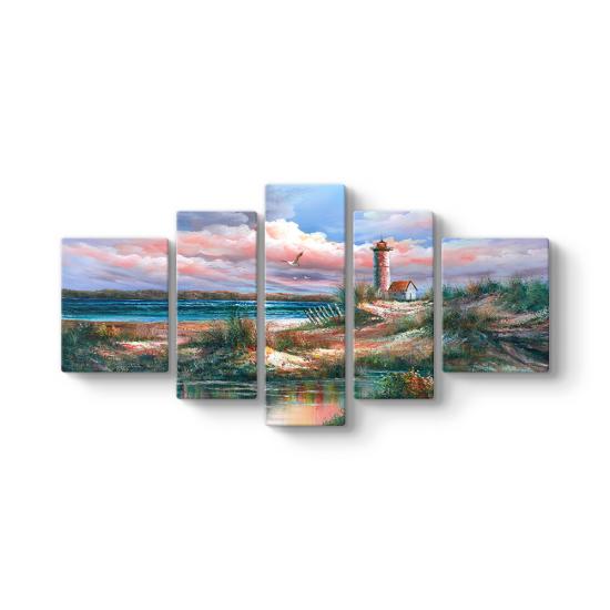 Deniz Feneri Manzara 5 Parçalı Tablo
