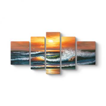 Gün Batımı Deniz Dalgaları 5 Parçalı Tablo